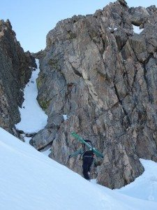 Gaining the saddle with our ascent route