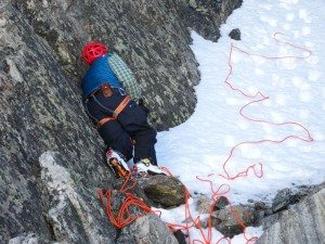 Opie pulling the rope from the rappell