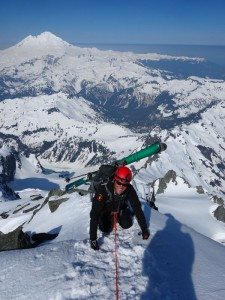 Opie cresting the summit of Shuksan