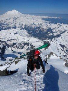 Opie cresting the summit of Shuksan