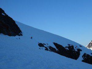 Skiing through a cliff band