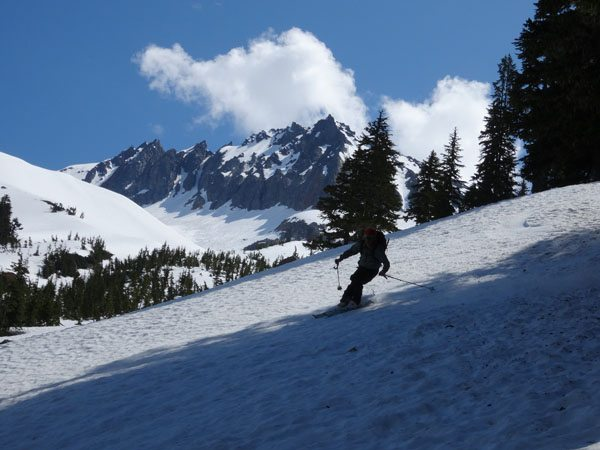 Skiing the shady side.
