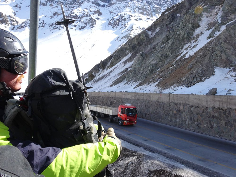 Crossing The International Highway On A Chairlift