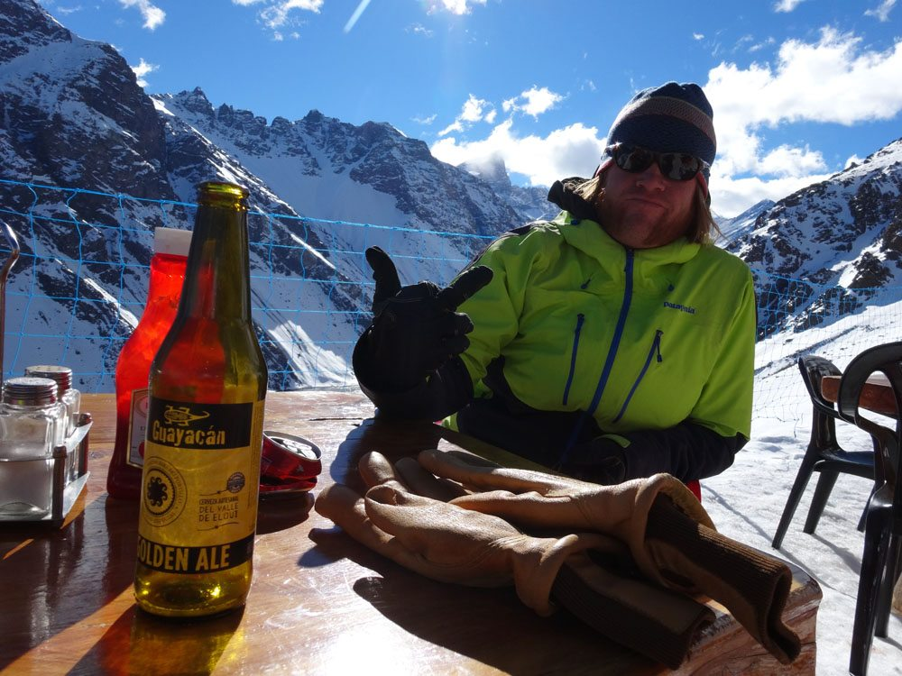 Enjoying A Post Ski Beer