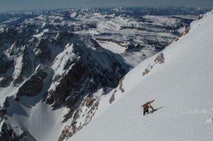 Patrick nears the summit of the Grand Teton