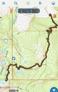 GaiaGPS Hidden Lakes Route