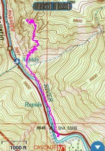 ski tracks hiking route