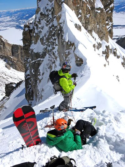 Hip Belay to test the snow