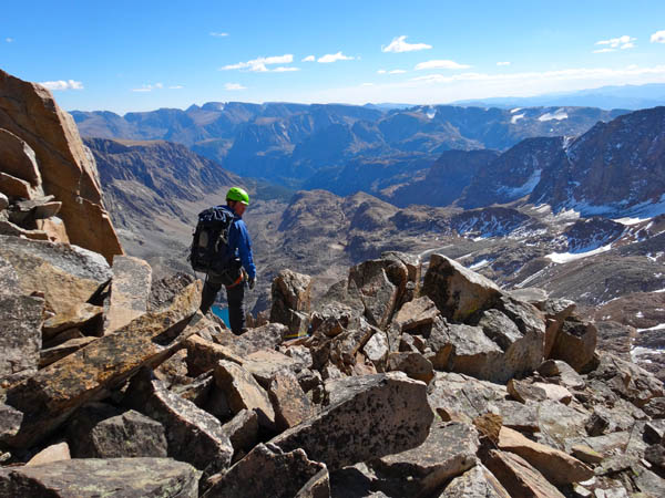 A mix of routefinding, down climbing, and rappelling