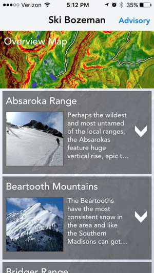 Ski Bozeman App - Backcountry Skiing Bozeman and Big Sky