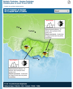 Haute-Pyrenees Avalanche Forecast on APril 17, 2016 | Screenshot from MeteoFrance.com