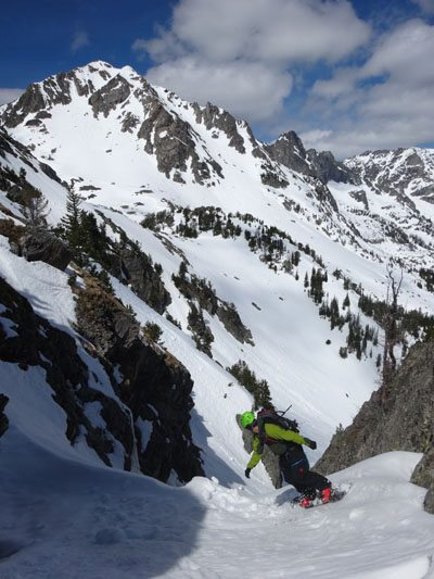 Jeremy Dropping Into The Fiddler's Fury With Peak 10602 in background