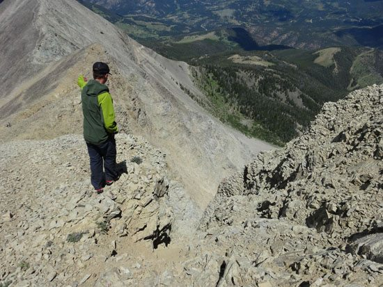 Looking down the North Couloir on Fan Mountain