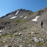 Our grassy route to the north ridge of ECho
