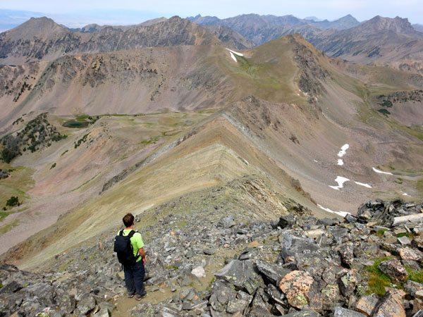 Heading Down the North Ridge Of Echo Peak