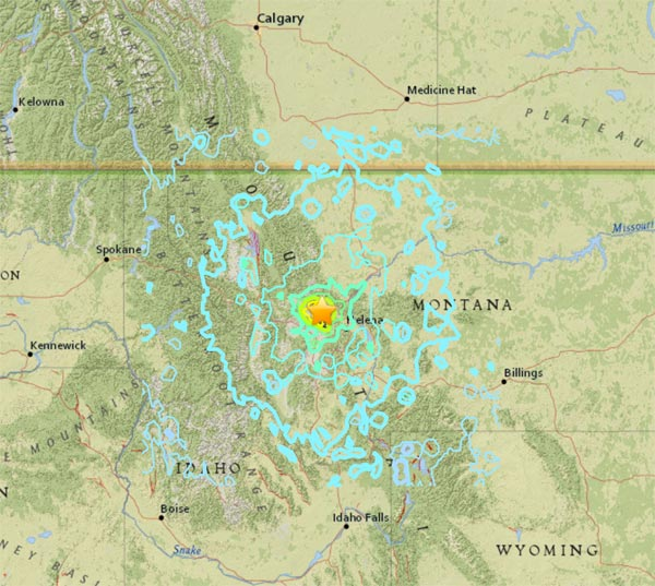 M 5.8 Earthquake In Western Montana on July 6, 2017 | Screenshot from Earthquake.USGS.gov