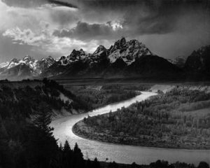 The Tetons And Snake River by Ansel Adams | Ansel Adams [Public domain], <a href=&quot;https://commons.wikimedia.org/wiki/File%3AAdams_The_Tetons_and_the_Snake_River.jpg&quot; srcset=