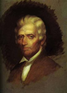 "Daniel Boone Portrait by Chester Harding [Public domain], <a href=""https://commons.wikimedia.org/wiki/File%3AUnfinished_portrait_of_Daniel_Boone_by_Chester_Harding_1820.jpg"">via Wikimedia Commons</a>"
