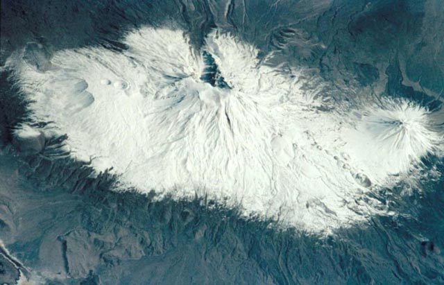 Satellite Image Of Mount Ararat | By NASA/JSC - http://earthobservatory.nasa.gov/Newsroom/NewImages/images.php3?img_id=4996http://eol.jsc.nasa.gov/scripts/sseop/photo.pl?mission=STS102&roll=344&frame=23http://eol.jsc.nasa.gov/sseop/images/ISD/lowres/STS102/STS102-344-23.jpg, Public Domain, Link